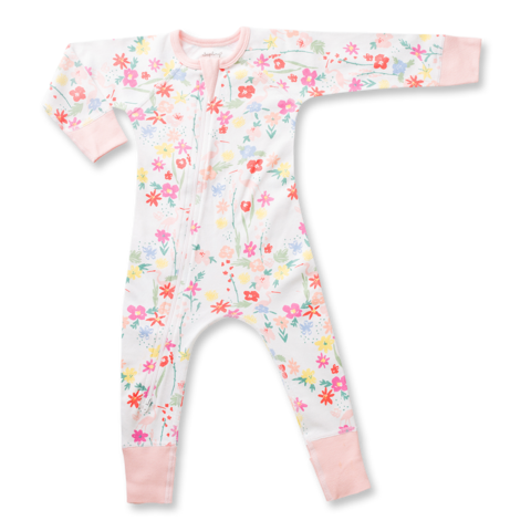 Pink floral patten zip romper for girls by Sapling Child