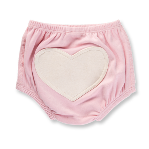 light pink bloomer with white heart on bottom