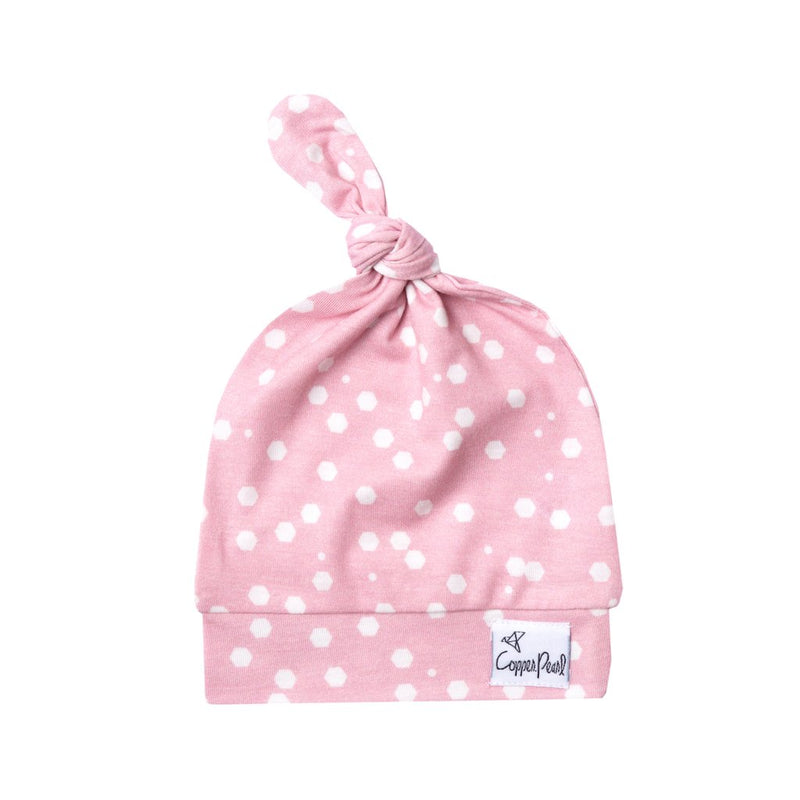 Pink and white polka dot top knot hat