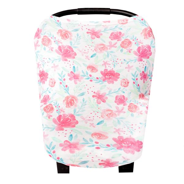 Pink and white floral pattern car seat cover by copper pearl
