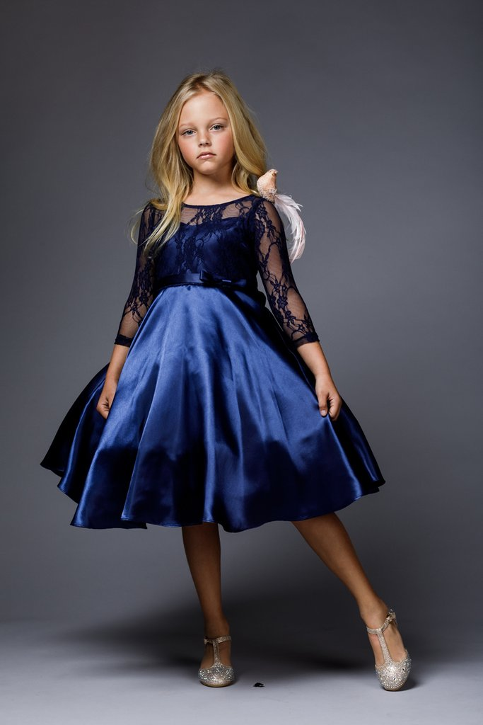 Royal blue lace upper, satin skirt and bow