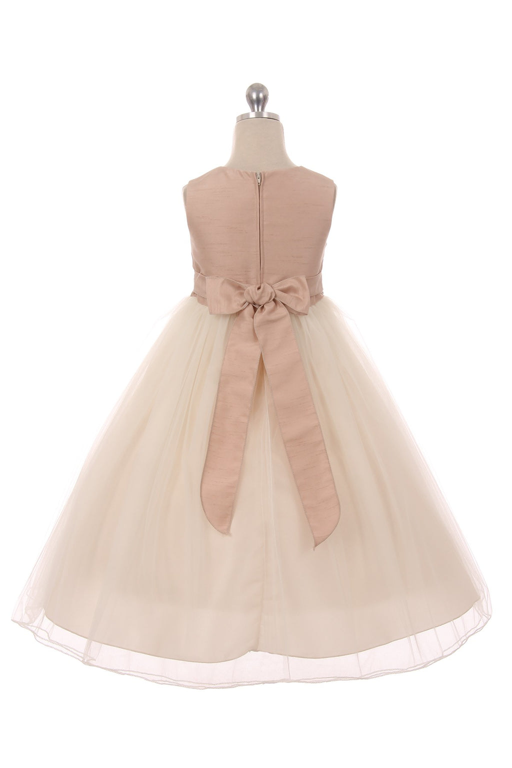 Dusty rose and ivory flower girl dress with bow and 3 flowers at waist