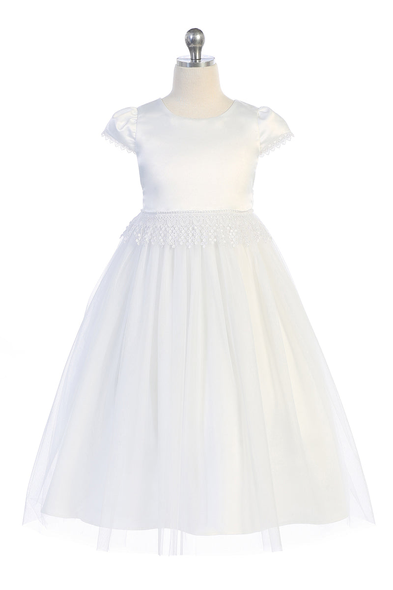 White flower girl dress, satin with embroidery trim on waist and sleeve