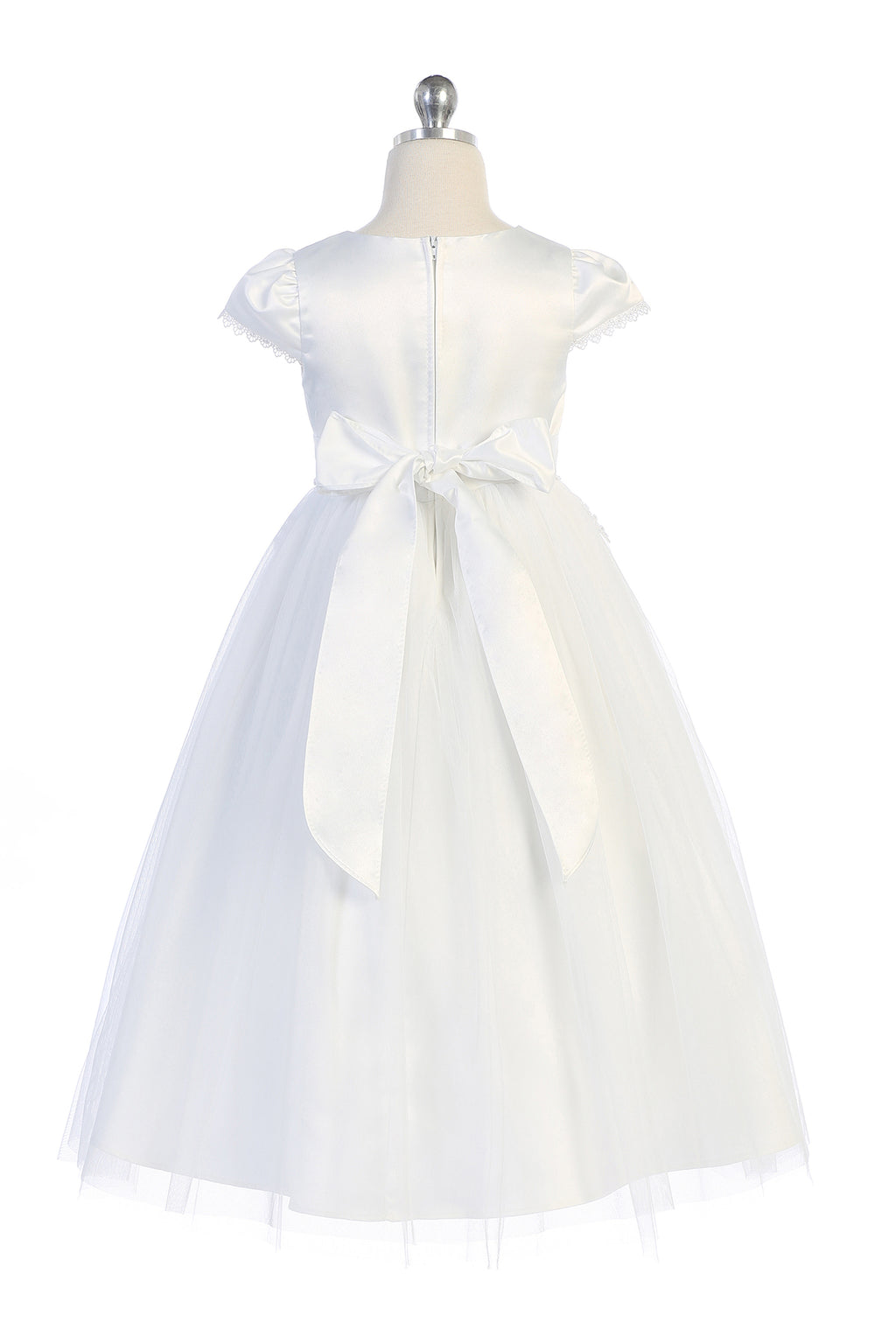 White satin flower girl dress with bow and embroidery on cap sleeves and waist