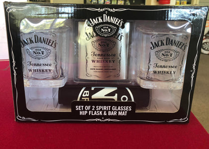 Jack Daniels Set of 2 Spirit Glasses, Hip Flask & Bar Mat