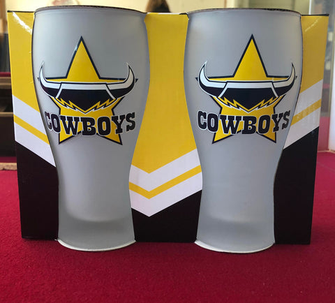 NRL Cowboys Set of 2 Frosted Schooner Glasses