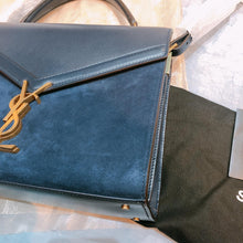 Load image into Gallery viewer, YSL Saint Laurent Envelope Top Handle Bag with Strap Suede Navy (New)