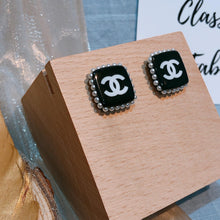 Load image into Gallery viewer, Chanel Black Square Pearl Earrings Year 2019 (Used)