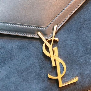 YSL Saint Laurent Envelope Top Handle Bag with Strap Suede Navy (New)
