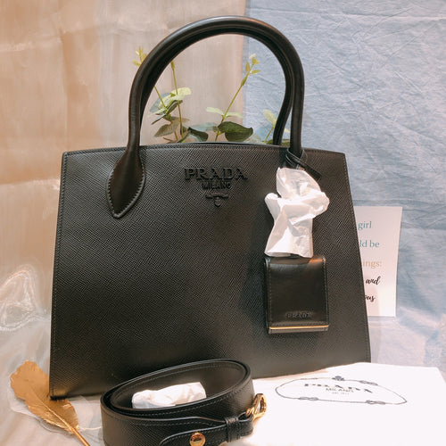 Prada Monochrome Bag Medium Saffiano Leather Nero 1BA155 (New)