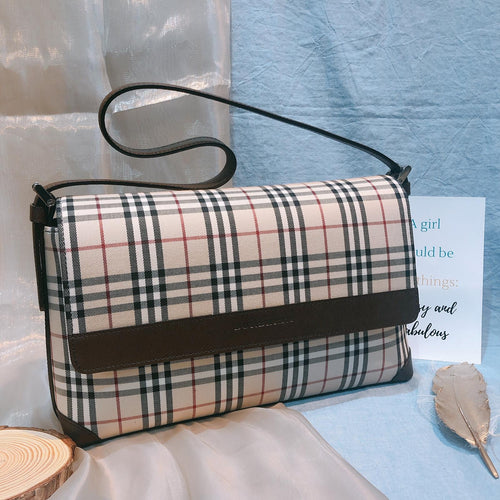 Burberry Checked Shoulder Bag Beige (Used)