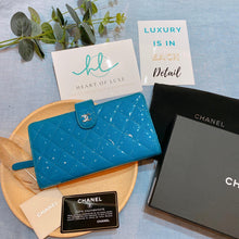 Load image into Gallery viewer, Chanel Patent Long Wallet Blue (Used)