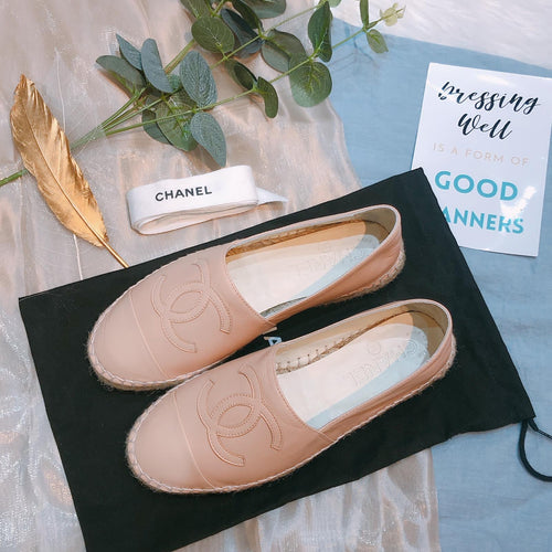 Chanel Espadrilles Lambskin Pink Size 35 (Used)