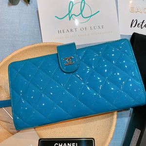 Chanel Patent Long Wallet Blue (Used)
