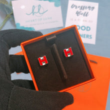 Load image into Gallery viewer, Hermes H Cube Earrings Red (Used)