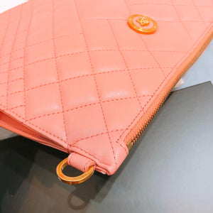 Versace Quilted Clutch With Strap Pink (New)