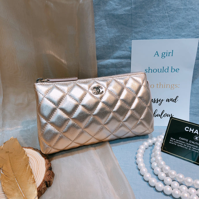 Chanel Quilted Pouch Pink With Pearl Strap (New)
