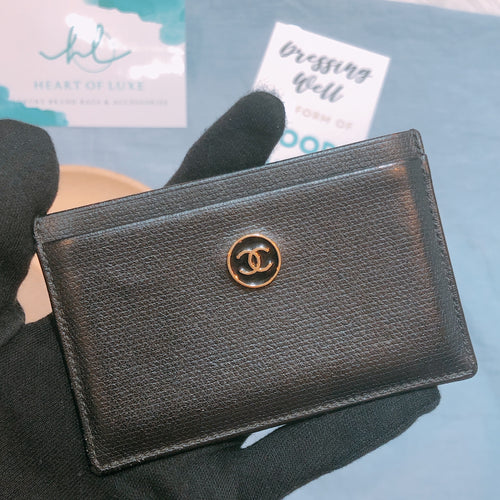 Chanel Gold Logo Cardholder Black (Used)