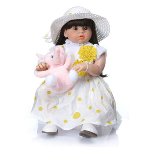 "28"" Summer Lifelike Baby Doll Long Hair Girl with Elephant Toy"