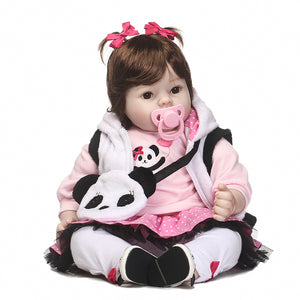 Pretty Reborn Baby Doll with Panda Bag