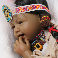 22 inches Native American Lifelike Baby Girl Doll Smiling