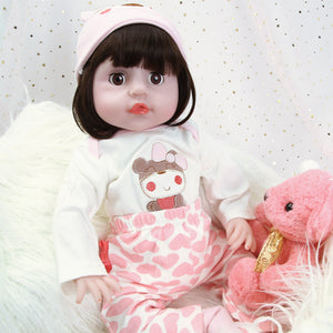 21 Inches Blinking Eyes Lifelike Baby Girl Doll with Pink Love Bear Outfit