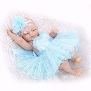 10 Inch Mini Newborn Silicone Baby With Blue Party Dress-Banydoll