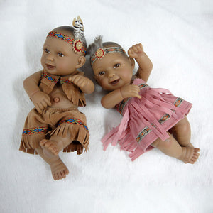 Series: 10 inches Mini Twins Native American Realistic Baby Dolls
