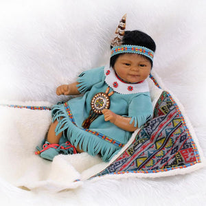 "Series: 16"" Native American Lifelike Baby Girl Doll Preemie"
