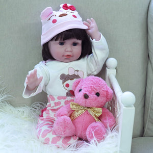 21 Inches Blue Eyes Lifelike Baby Doll Girl With Pink Bear Outfit
