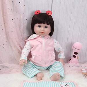 21 Inches Blue Eyes Lifelike Baby Doll with Pink Cat Outfit