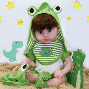 21 inches Blinking Blue Eyes lifelike Baby Doll Boy with Frog Outfit