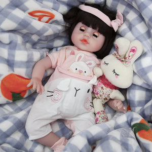 21 Inches Blinking Eyes Lifelike Baby Doll with Cute Rabbit Outfit