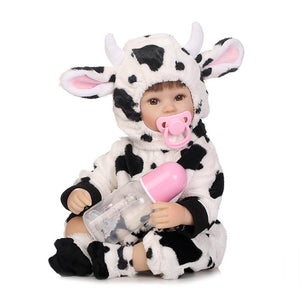 Fully Lifelike Reborn Baby Doll Garnet With Cow Onesies-Banydoll