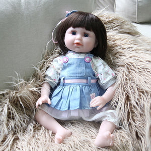 21 Inches Blue Eyes Blue Dress Lifelike Baby Doll Girl