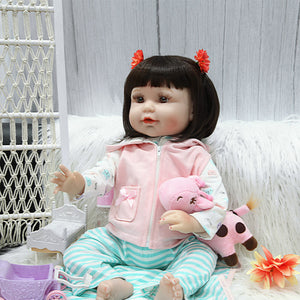 21 Inches Brown Eyes Lifelike Baby Doll with Cute Cat Suits