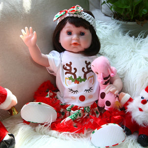 Christmas Gift 21 Inches Lifelike Baby Doll Blue Eyes Girl Deer Outfit