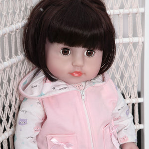 21 Inches Blinking Eyes Lifelike Baby Doll with Cat Outfits