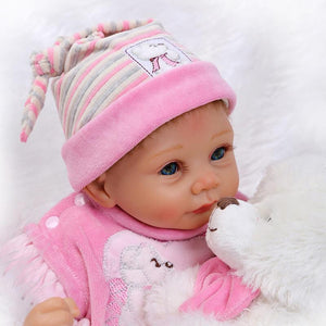 22 Inch Lifelike Silicone Reborn Baby with Bear Doll-Banydoll