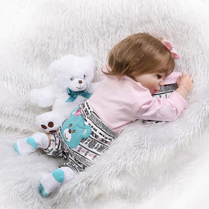 22 Inch Newborn Baby Girl with Bear Doll-Banydoll