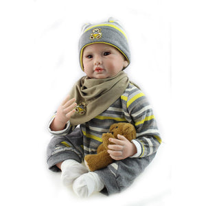 "22"" Lifelike Baby Doll Handsome Boy Allister & Bear Toy"