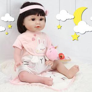 21 Inches Lifelike Baby Doll Girl with Pink Rabbit Outfit