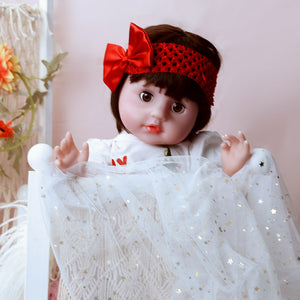 Christmas Gift Blinking Eyes Lifelike Baby Girl Doll 21 Inches