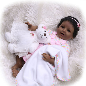 Smiling African American Girl Doll with Pal-Banydoll