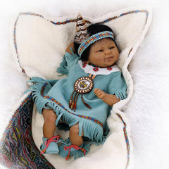16 inches Native American Lifelike Baby Girl Doll Preemie