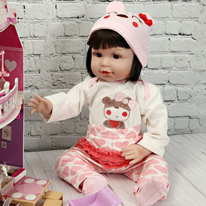 21 Inches Lifelike Baby Doll Girl with Pink Bear Outfit