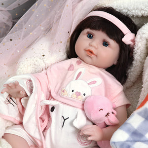 21 Inches Blue Eyes Lifelike Baby Dolls with Cute Rabbit Outfit