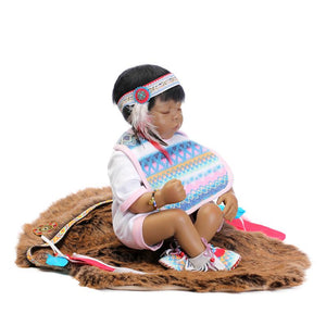 "Series: 18"" Native American Lifelike Baby Boy Doll Sleeping"