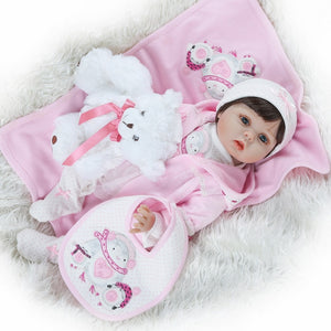 "22"" Lifelike Baby Doll Lovely Pink Girl with Bear"
