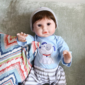 21 Inches Printed Dog Little Boy Lifelike Baby Doll